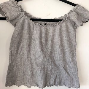 Brandy Melville off the shoulder gray ribbed top